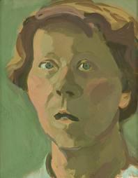 Maria Lassnig, Autoritratto, 1981, Corridoio Vasariano, Uffizi