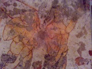 Particolare di affresco Peccato Originale, Cripta, Gravina di Picciano(MT)