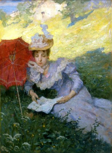 Luigi Rossi, All'ombra una piacevole lettura, al sole di tramonto, 1891